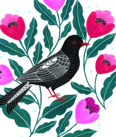 Black Bird Pink Flowers