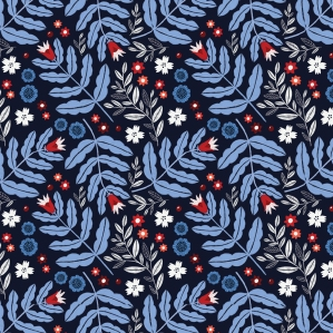 Blue and Red Floral Pattern