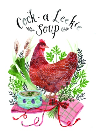 Cock-A-Leekie Soup. Recipe Illustration for Blume Magazine