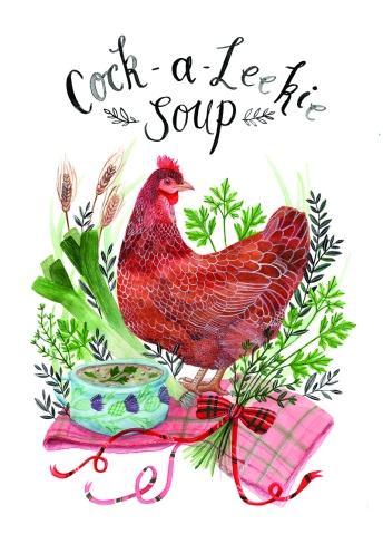 Cock-A-Leekie Soup. Recipe Illustration for Blume Magazine